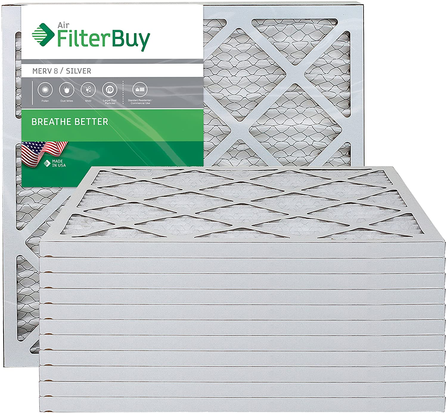 FilterBuy 18x22x1 MERV 8 Pleated AC Furnace Air Filter, (Pack of 12 Filters), 18x22x1 – Silver