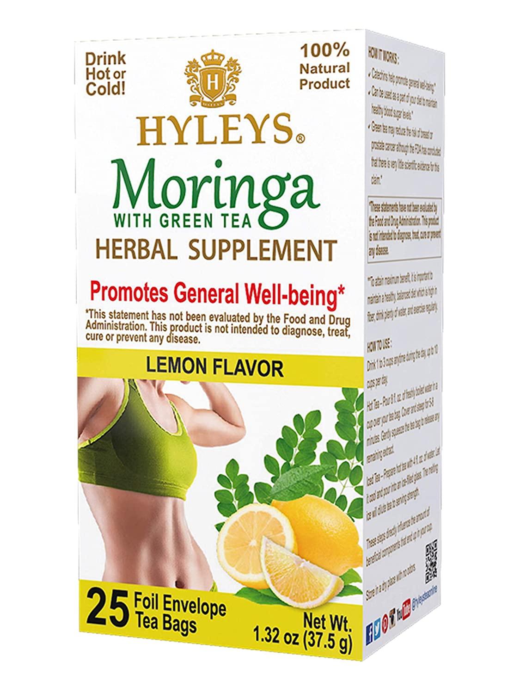 12 Pack of Hyleys Wellness Moringa Oleifera Green Tea Lemon - 25 Tea Bags (100% Natural, Sugar Free, Gluten Free and Non-GMO)