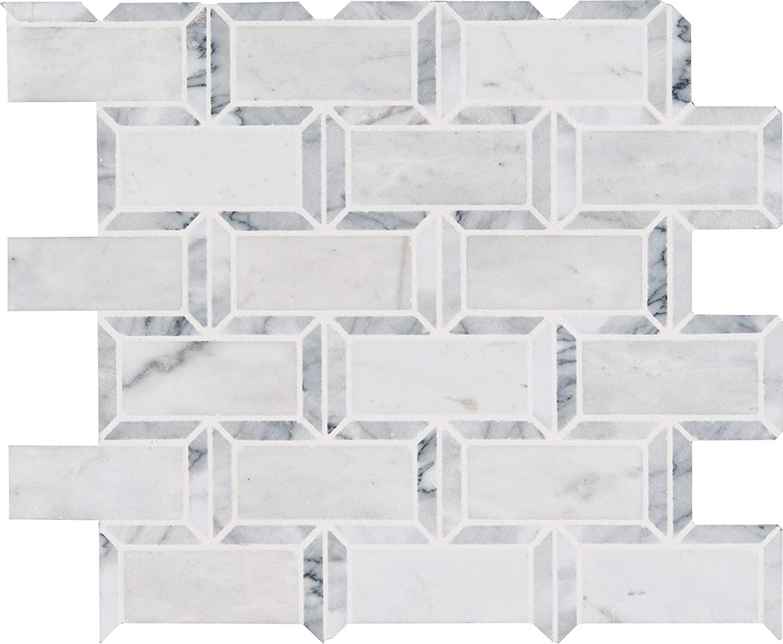 MS International AMZ-MD-00191 Framework Tile, 12in. x 13.19in, White, 10 Piece