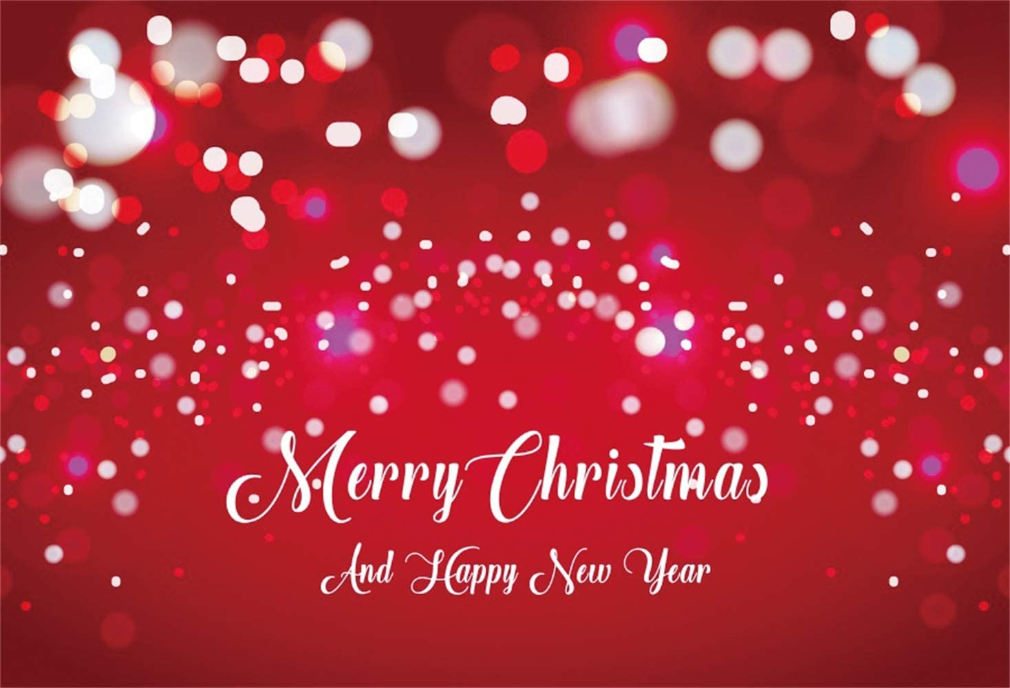 Leowefowa Merry Christmas and Happy New Year Backdrop 10x7ft Scattered Light Spots Bokeh Haloes Red Vinyl Photo Background New Year Xmas Eve Party Banner Greeting Card Wallpaper Child Adult Shoot