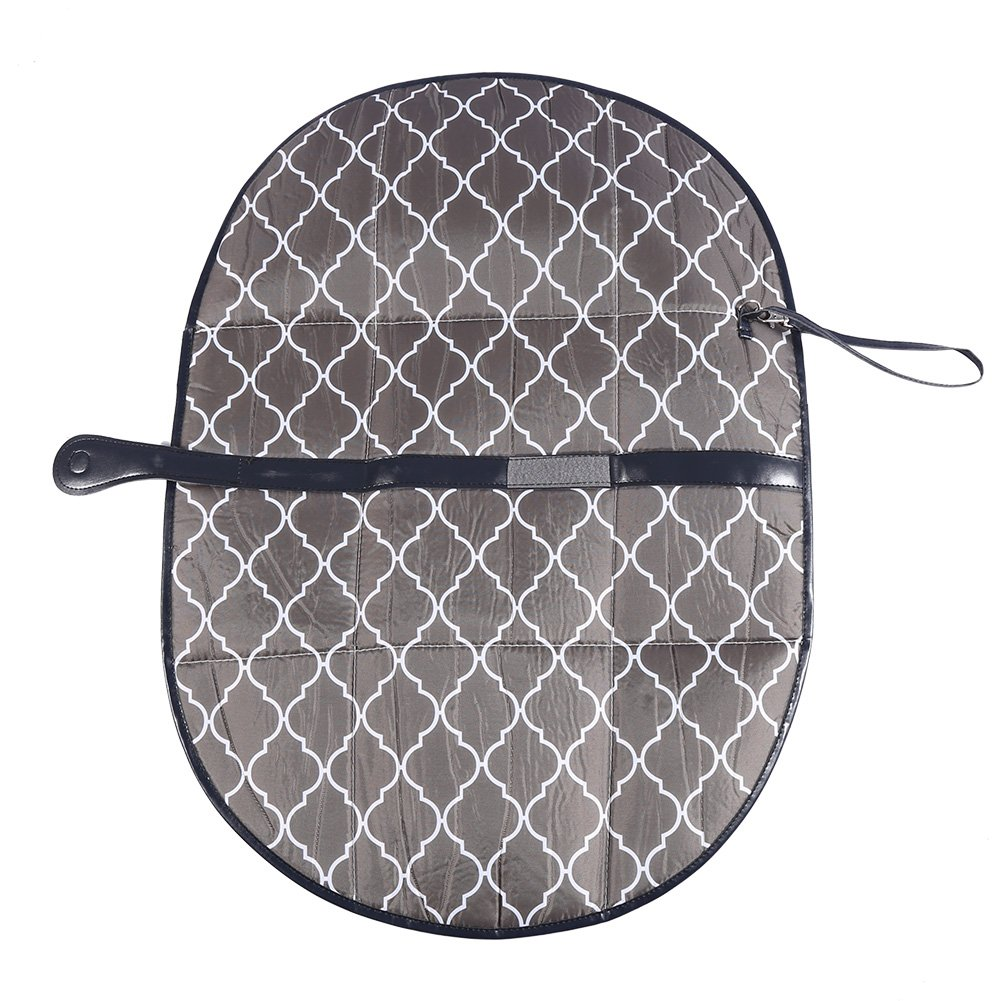 Diaper Changing Pad, Oxford Cloth Baby Diaper Changing Pad Portable Extra Large Baby Infant Changing Mat with Side Pockets Travel Changing Station Foldable Nappy Bag for Infants Newborns(Gray)