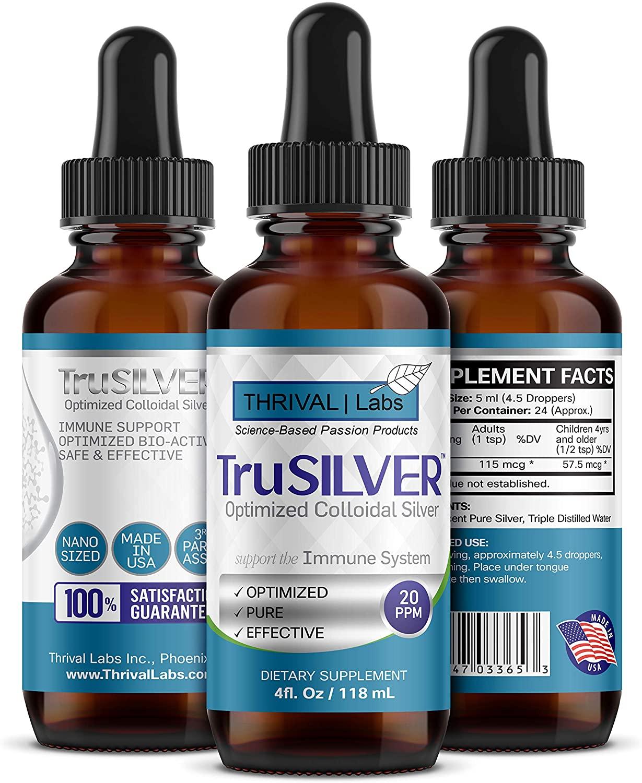 TruSILVER Optimized 20 PPM Bio-Active Colloidal Silver in 4 oz. Dark Glass Dropper Bottle