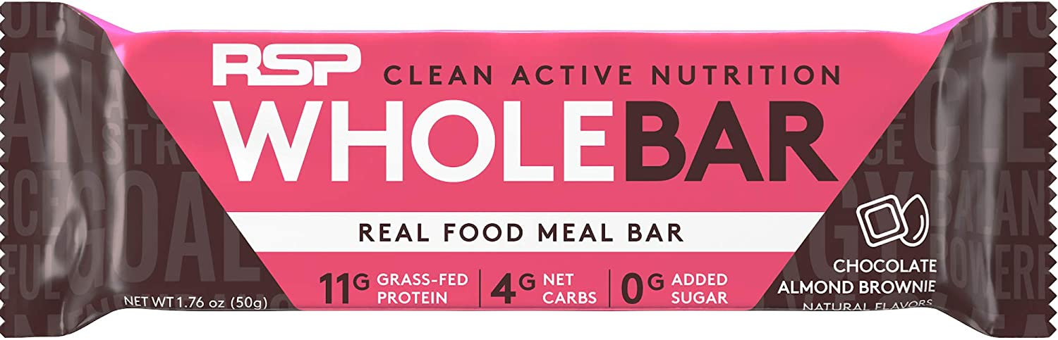 RSP Whole Bar - Low Carb Meal Replacement Bar with Grass-Fed Protein & Whole Food Ingredients, Keto and Paleo Friendly, Zero Added Sugar, Gluten Free, 12 Pack (Chocolate)