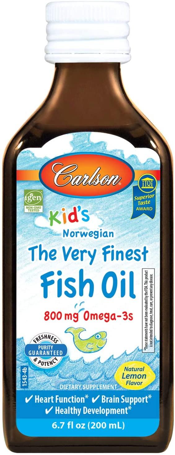 Carlson Kid's The Very Finest Fish Oil, Lemon, Norwegian, 800 mg Omega-3s, 200 mL