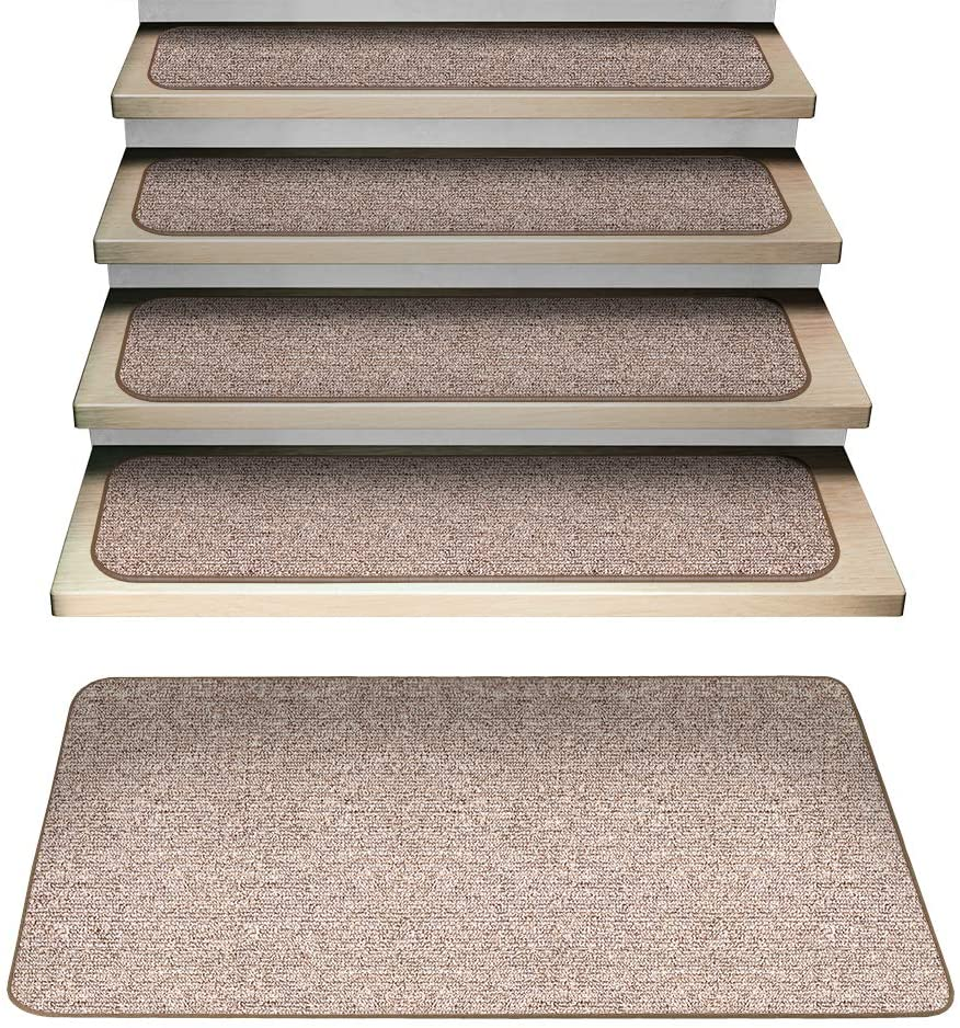 House, Home and More Set of 15 Attachable Carpet Stair Treads and Matching Landing Rug - Pebble Beige