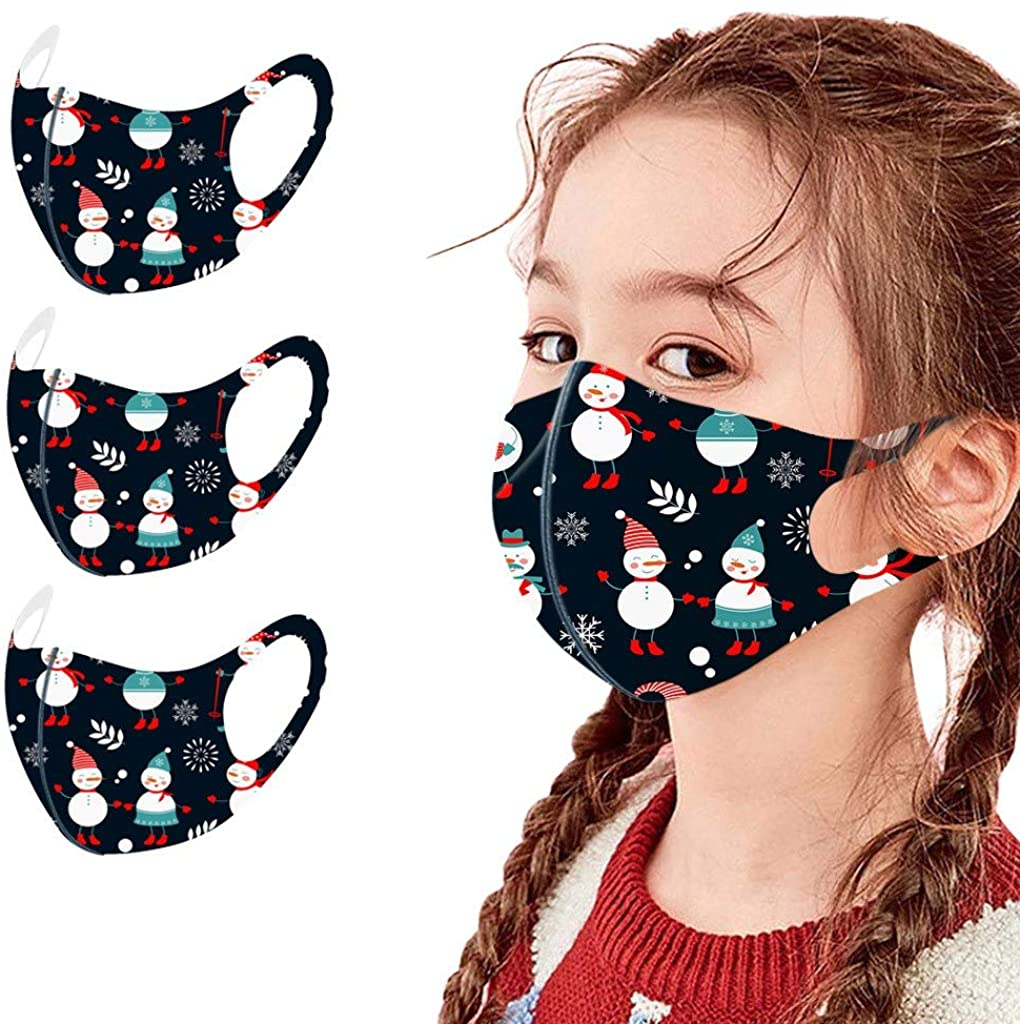 Children's Reusable Washable Face_Covers Bandanas,Breathable Protective Face_Masks Earloops, Christmas for Kids Party