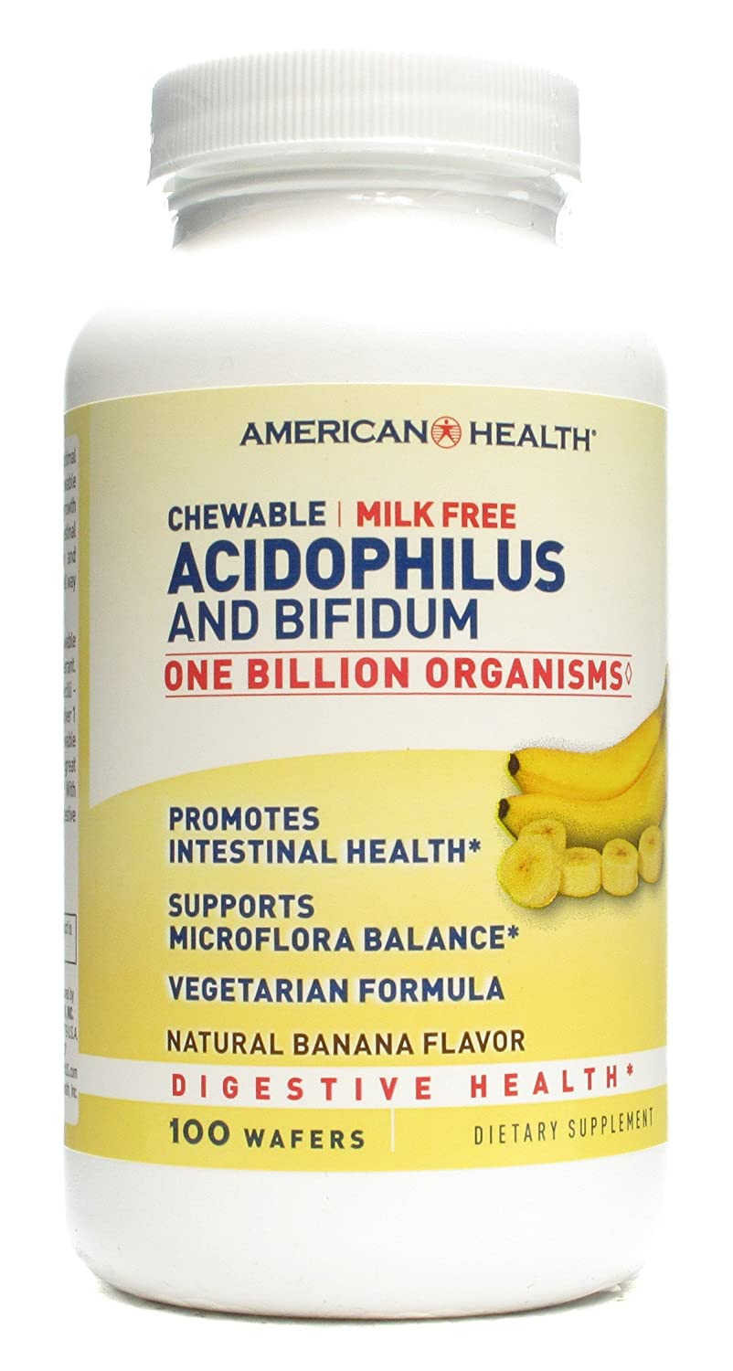 American Health Chewable Banana Acidophilus - 100 Wafer -- 6 per case.