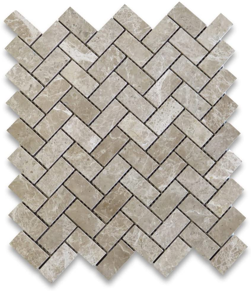 Stone Center Online Emperador Light Marble Herringbone Mosaic Tile 1