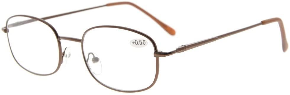 Eyekepper Metal Frame Spring Hinged Arms Reading Glasses +2.5
