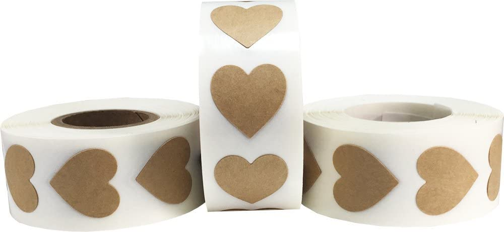 Natural Kraft Heart Stickers for Valentine's Day Crafting Scrapbooking 3/4 Inch 1,500 Total Stickers