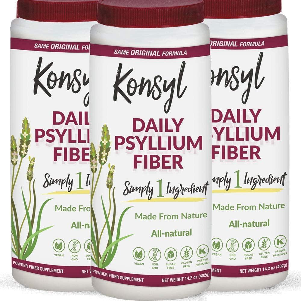 Konsyl Daily Psyllium Fiber Supplement Powder | All-Natural, Soluble, Gluten-Free & Sugar-Free | 3 Units - 402g
