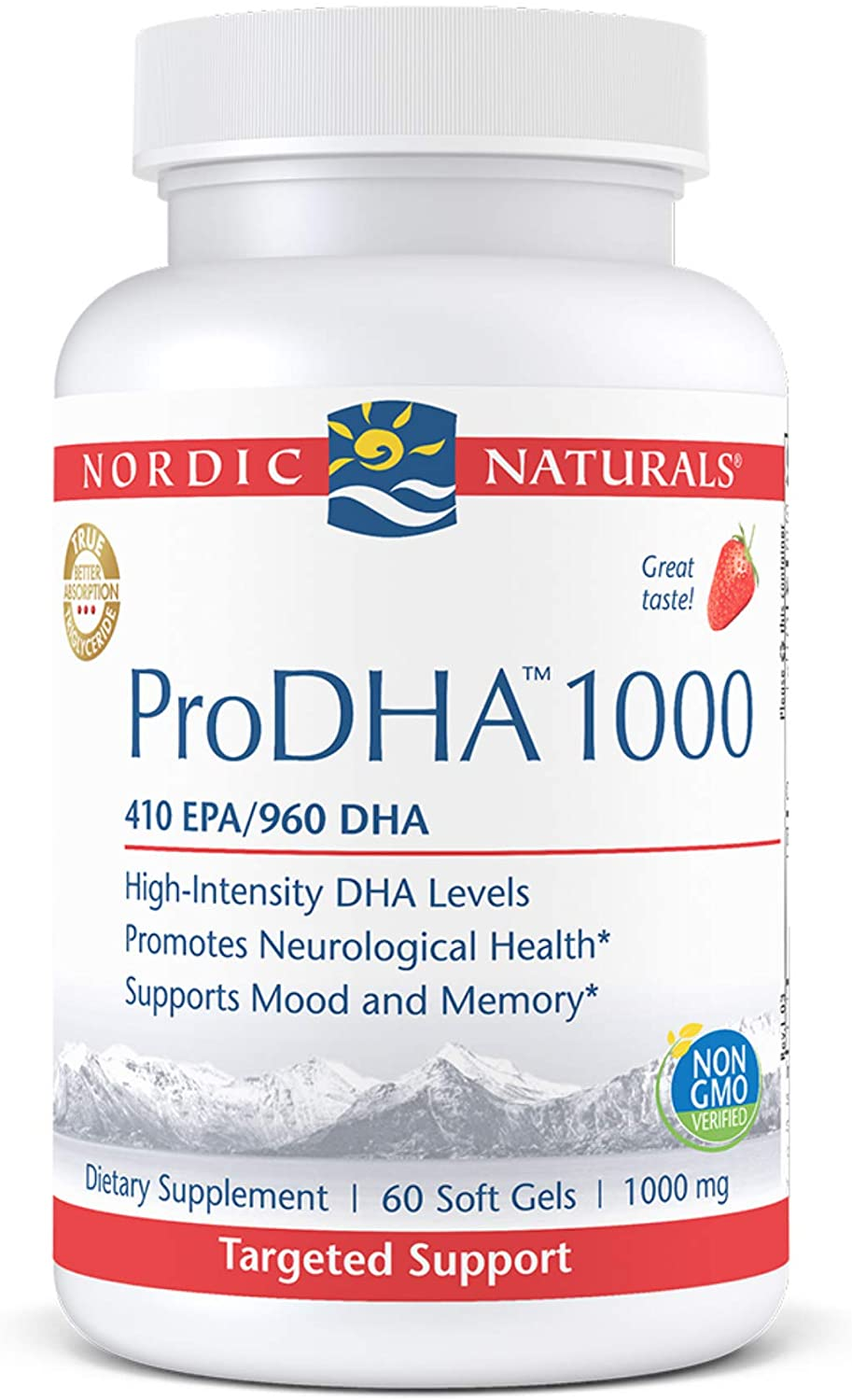 Nordic Naturals ProDHA 1000, Strawberry - 60 Soft Gels - 1660 mg Omega-3 - High-Intensity DHA Formula for Neurological Health, Mood & Memory - Non-GMO - 30 Servings