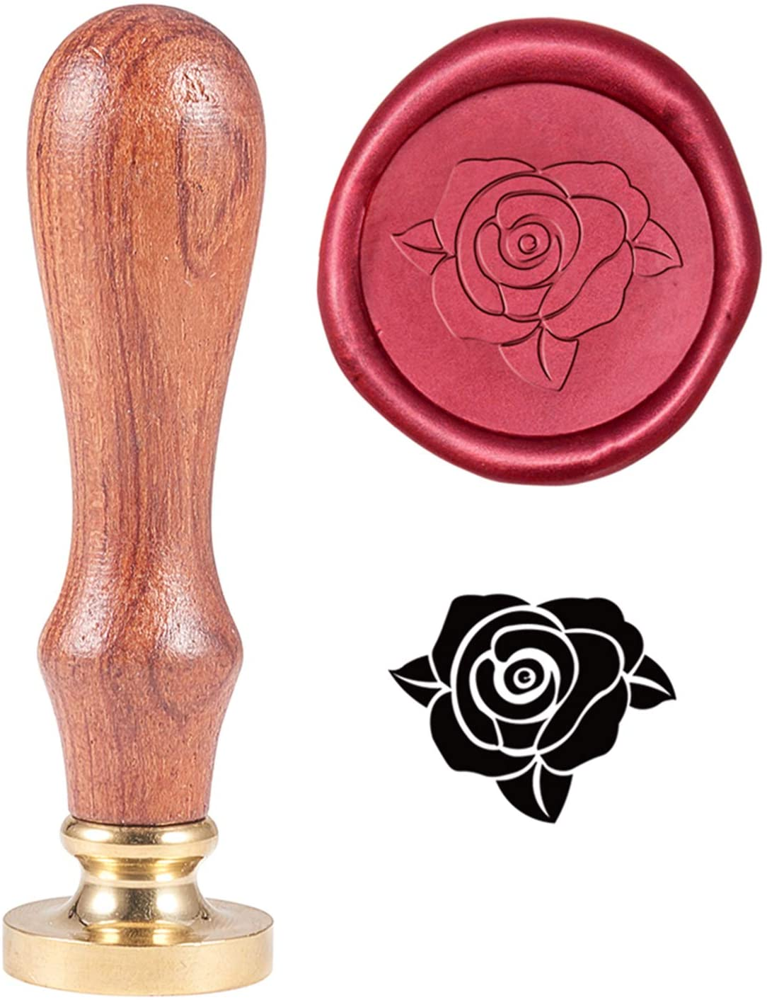 PH PandaHall Rose Flower Wax Seal Stamp Vintage Retro Flower Sealing Stamp for Valentine's Day Embellishment of Envelopes, Invitations, Gift Packing, Wine Package