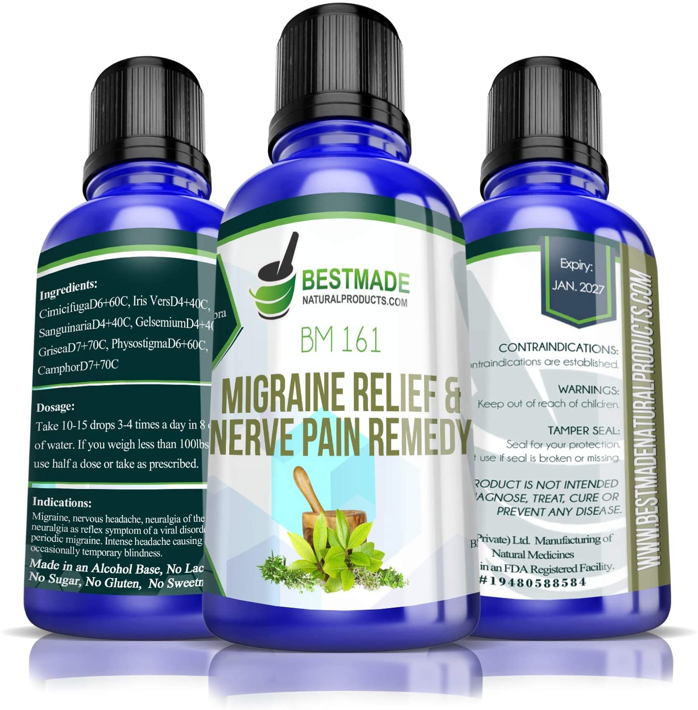 Natural Remedy for Migraines and Nerve Pain | Useful for Throbbing Headaches, Sensitivity to Light and Nausea | Relieves Neuralgia of the Body & Face Effective for Nerve Pain Resulting from Rheumatism