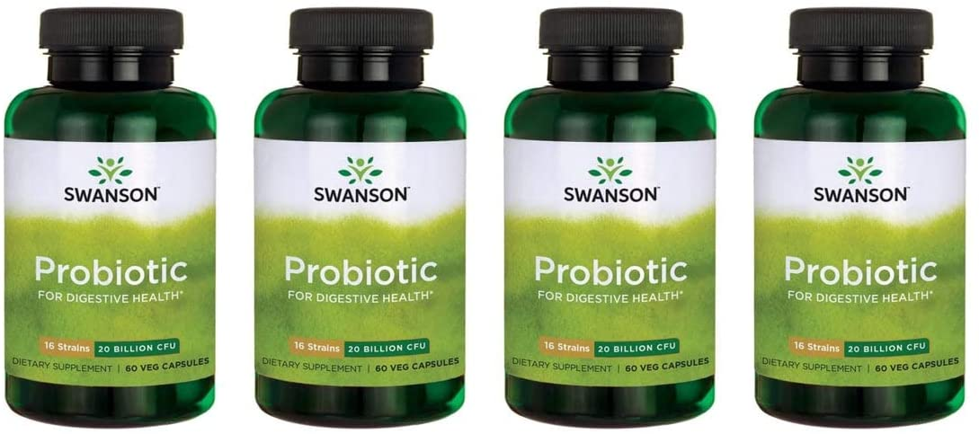 Swanson Probiotic for Digestive Health GI Tract Immune Support Travelers Support 20 Billion CFU with Prebiotic FOS 60 Veggie Capsules (Caps) (4 Pack)