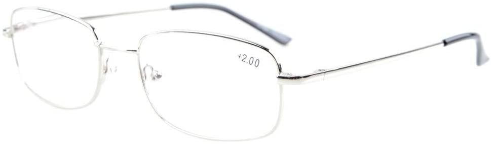 Eyekepper Bridge-Flex Memory Titanium Mens Womens Spring Hinges Reading Glasses Silver +4.0