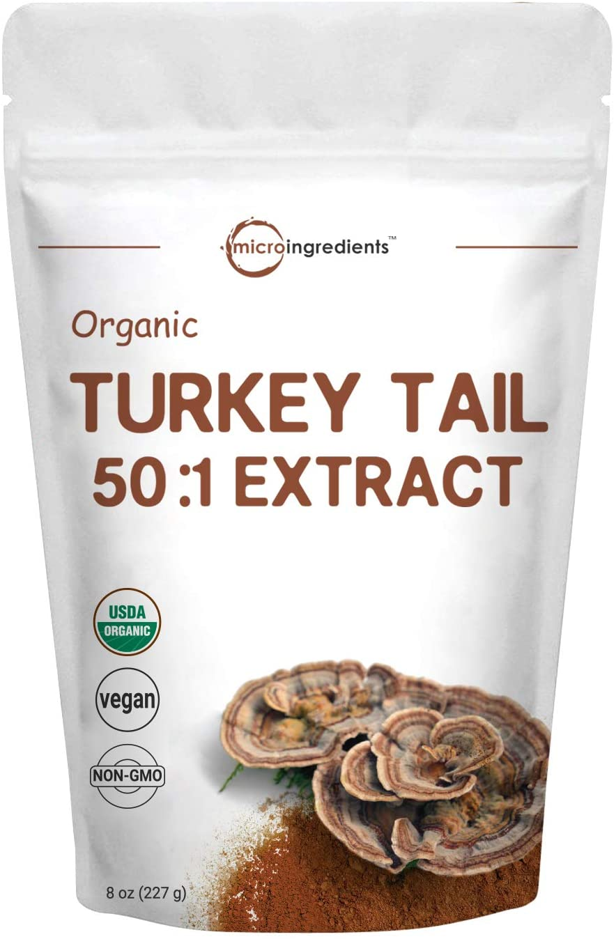 Sustainably US Grown, Organic Turkey Tail Mushroom Powder (50:1 Extract), 8 Ounce (227Grams), Pure Turkey Tail Supplement, Naturally Supports Immune Response and Cellular Level, Vegan Friendly
