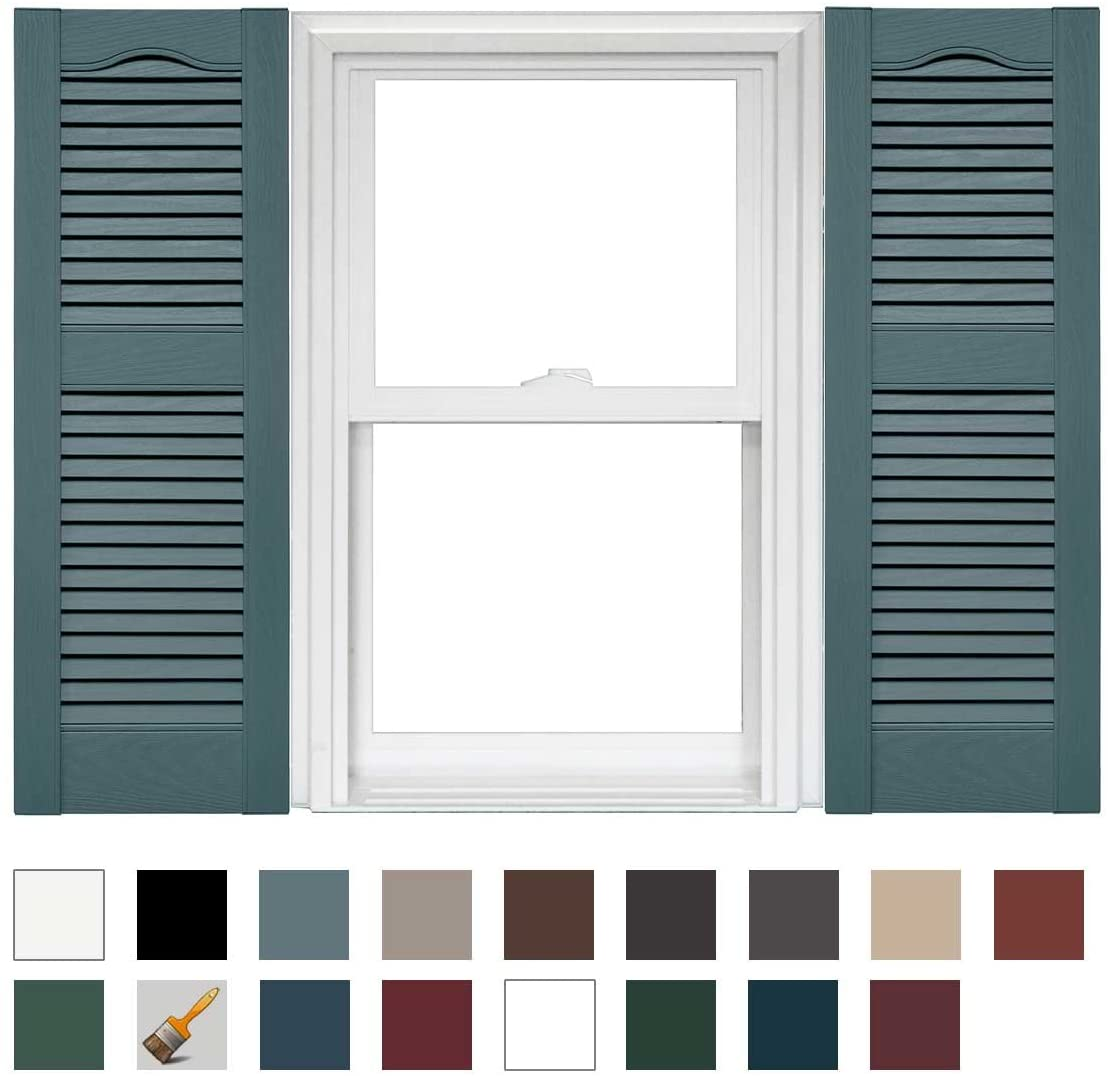 Mid America Cathedral Open Louver Vinyl Standard Shutter (1 Pair) - 14.5 x 31 004 Wedgewood Blue