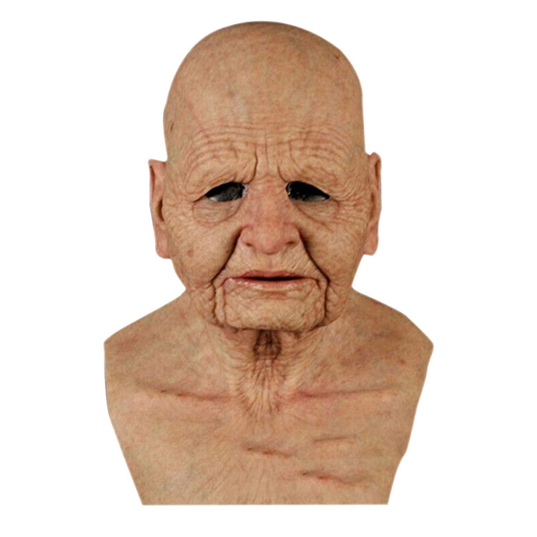 Crazypig Old Woman Halloween Latex Bandana_Covering_Mask, Funny Cosplay Party Props Bandana