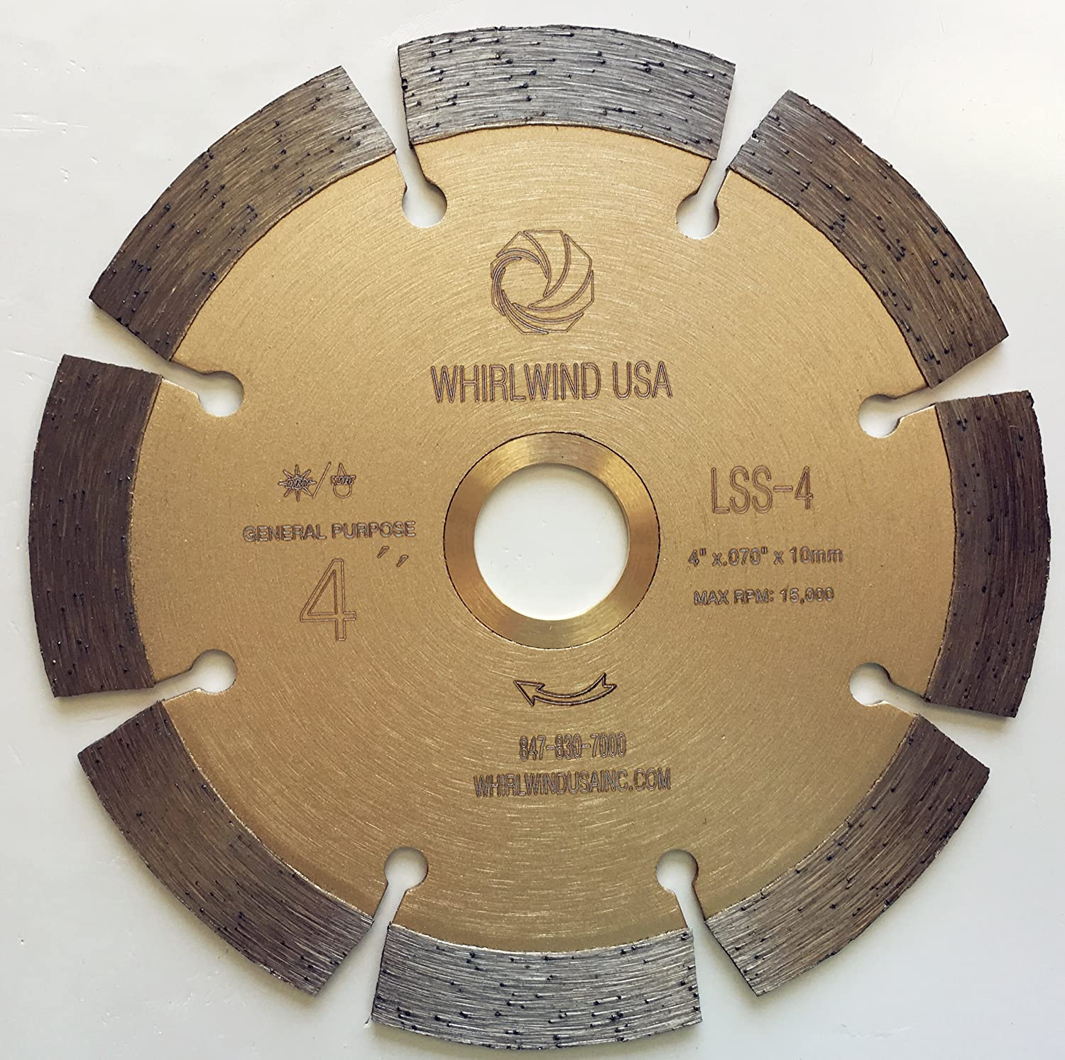 Whirlwind USA LSS 4 in. Dry or Wet Cutting General Purpose Power Saw Segmented Diamond Blades for Masonry Brick/Block Pavers Concrete Stone (Factory Direct Sale) (4