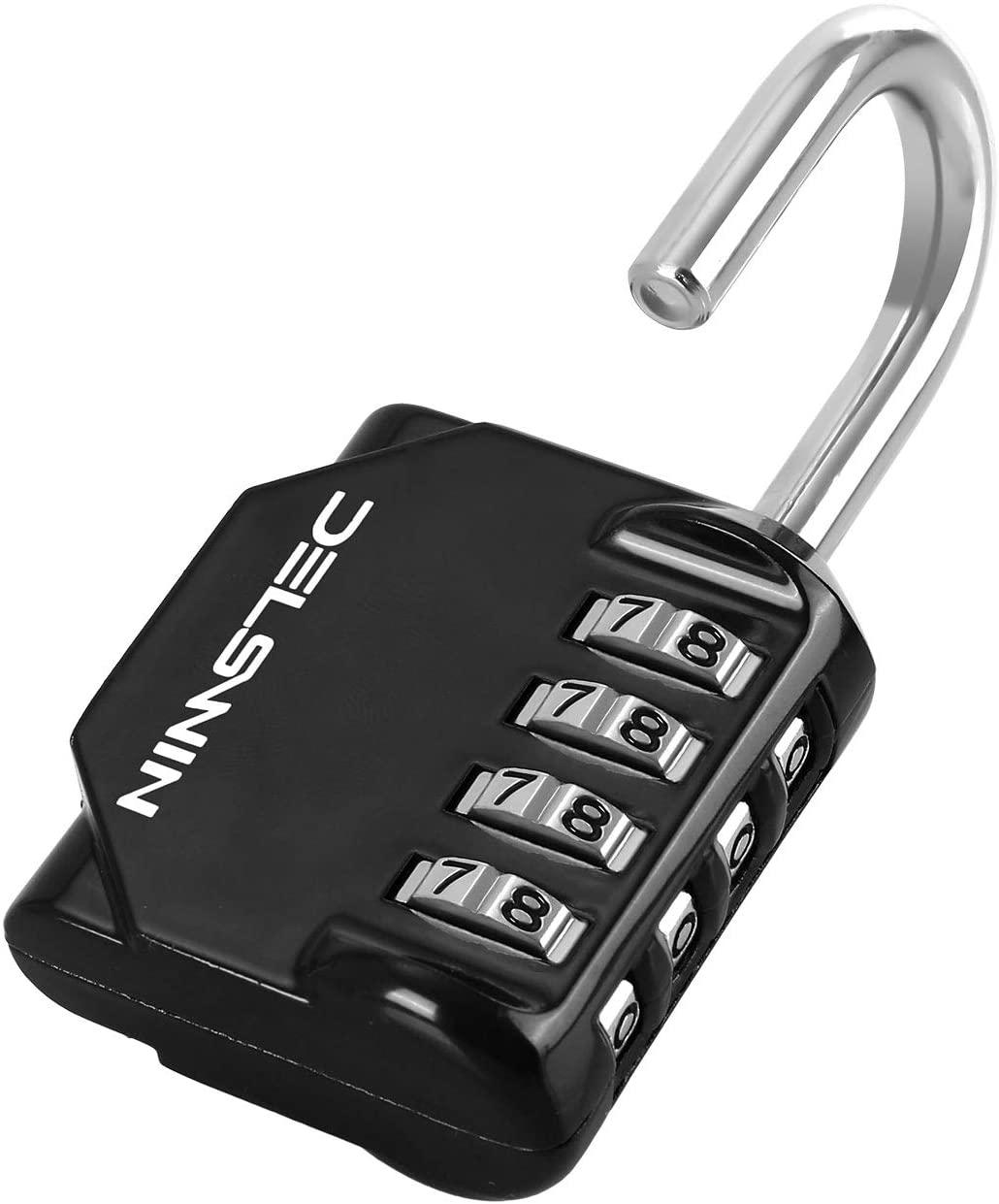 4 Digit Combination Lock - Hardened Steel Combo Lock,Combination Padlock for Gym Locker,Sports Locker,Fence,Black