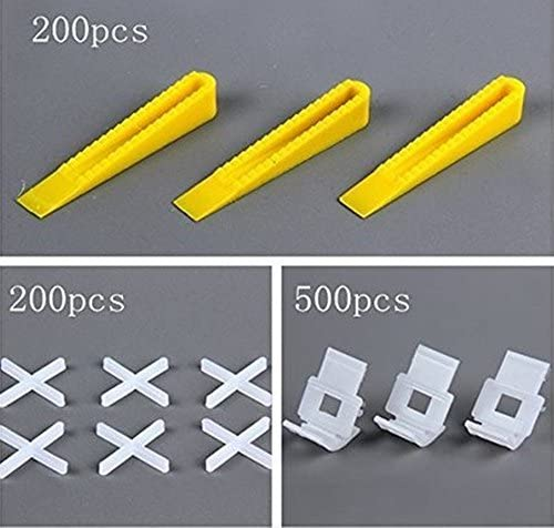 900 Tile Leveling System Tiles Leveler Spacers -200 Reusable Wedges plus 500 Clips plus 200 positioning crosses- Level Construction Tools for Floor Wall Setting 1/16 Inch(15mm)