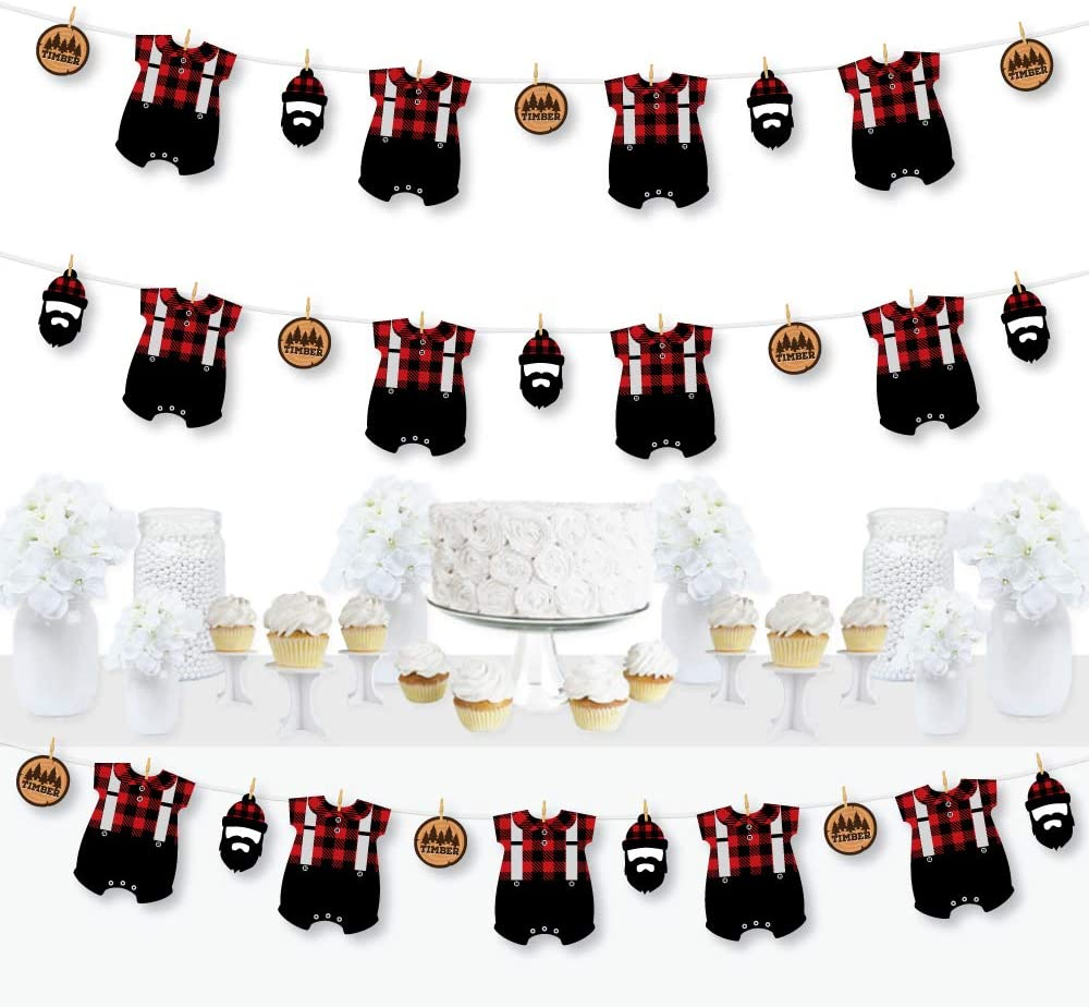 Big Dot of Happiness Lumberjack - Channel the Flannel - Buffalo Plaid Party DIY Decorations - Clothespin Garland Banner - 44 Pieces