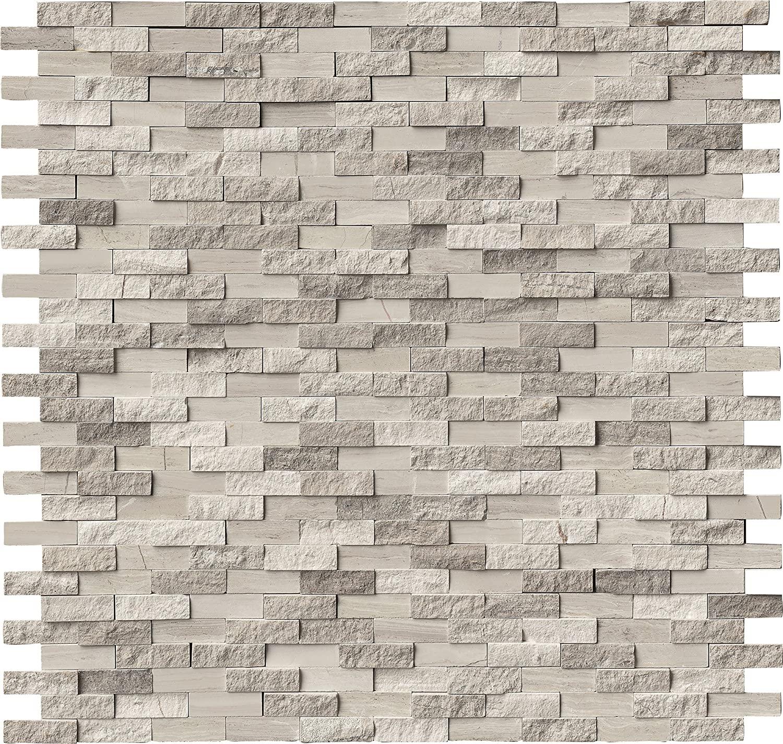 MS International AMZ-MD-00057 White Oak Splitface Tile, 12in. x 12in, 10 Piece