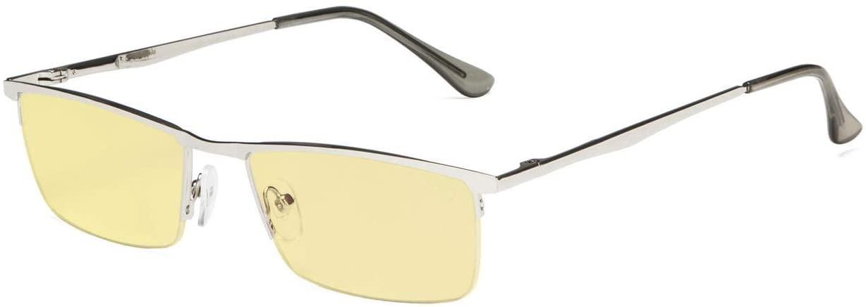 Eyekepper Blue Light Blocking Reading Glasses Half-Rim Computer Readers Eyeglasses-Yellow Tinted Lens Reading Glasses (Silver, 3.50)