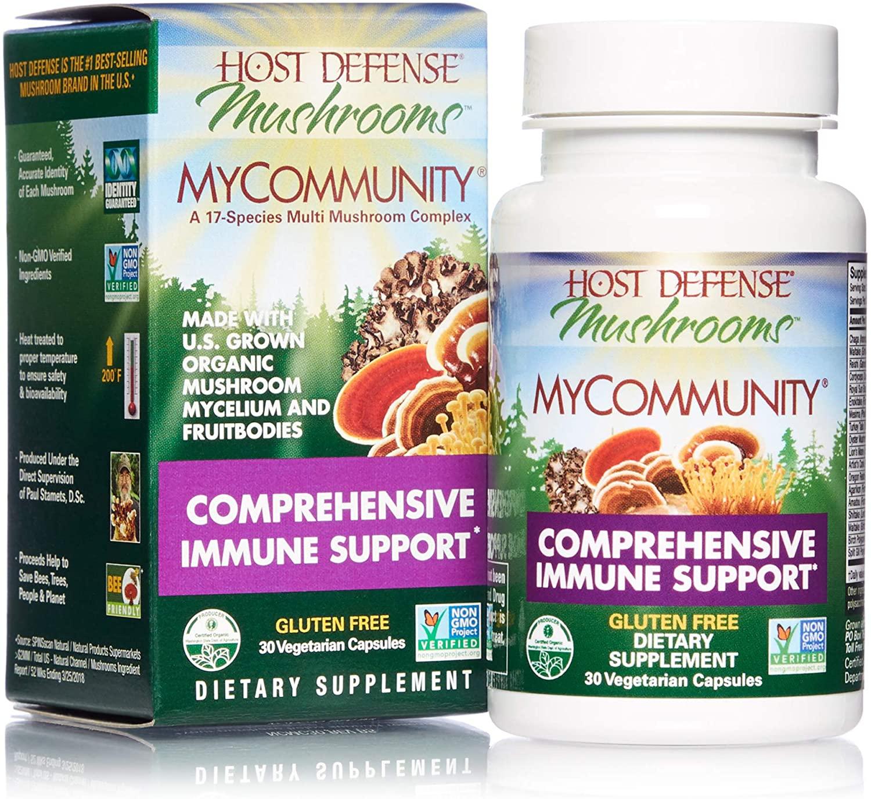 Host Defense, MyCommunity Capsules, Advanced Immune Support, Mushroom Supplement with Lion's Mane, Reishi, Vegan, Organic, 30 Capsules (15 Servings)