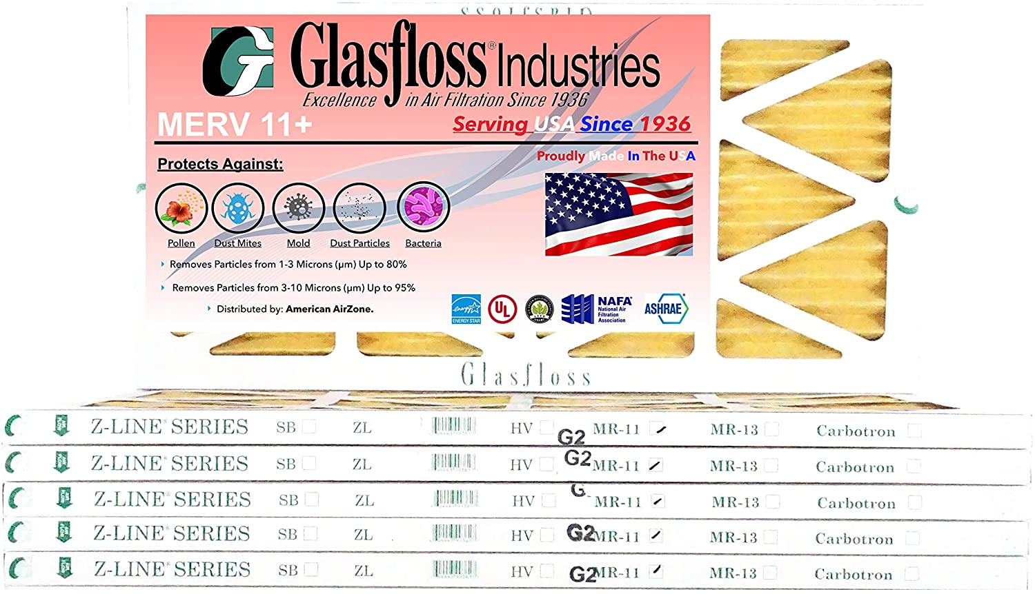 Glasfloss 12x25x1-1 Inch MERV 11 - (Pack of 6) - AC or HVAC Pleated Air Filter - Furnace Air Filter - For Home or Office - Made In The USA