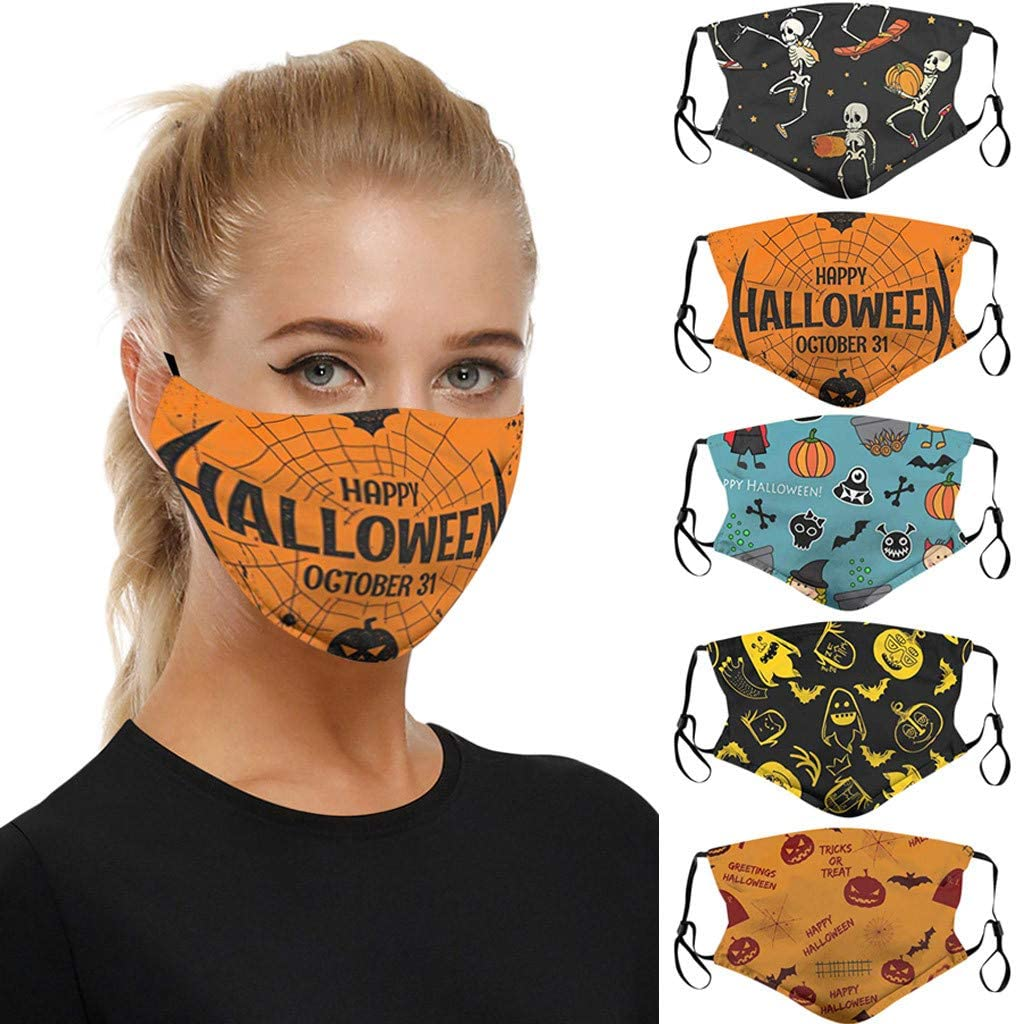 Halloween Happy 5PCS Adults Reusable and Breathable Cotton Face Bandanas, with Pumpkin Halloween Pattern, Anti-Haze Dust, Washable Face Bandanas (Halloween #9)