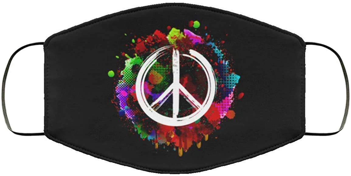 Colorful Peace Sign Face Mouth Cover Bandana, Adult Size 2 Layer Washable Light Weight Comfort…
