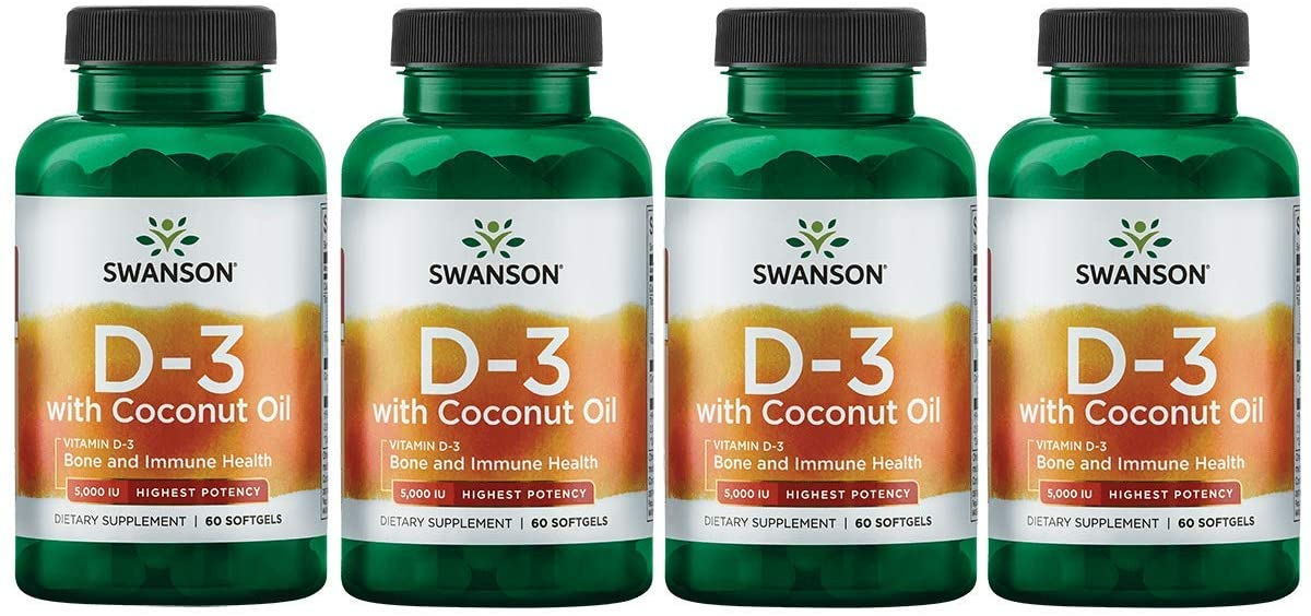 Swanson Vitamin D-3 with Coconut Oil - Highest Potency 5,000 Iu 60 Sgels 4 Pack
