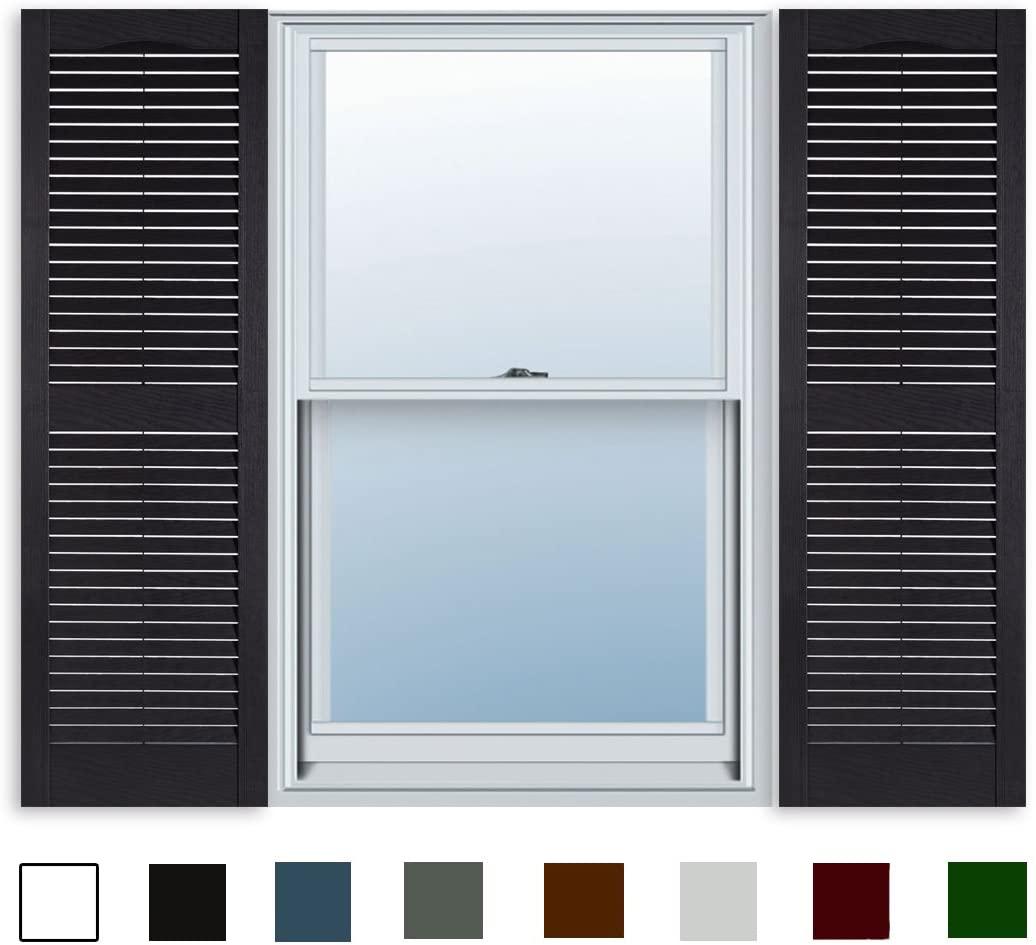 15 Inch x 55 Inch Standard Louver Exterior Vinyl Window Shutters, Black (Pair)