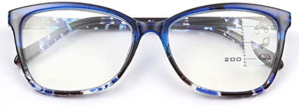 SUNERVE Progressive Multifocal Reading Glasses Readers Women 1.0-3.5 Multifocus Plastic Spring Hinges