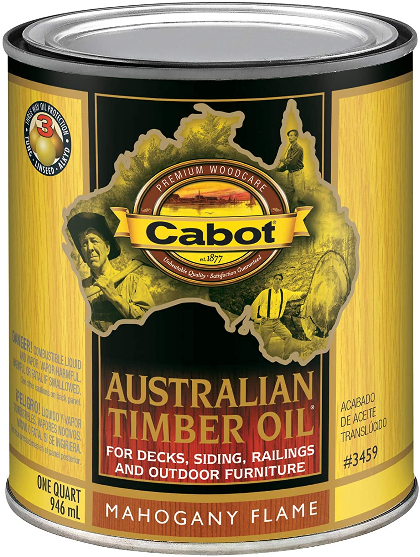 Cabot 140.0003459.005 Australian Timber Oil Stain, Quart, Mahogany Flame
