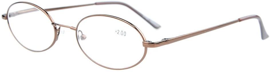 Eyekepper Titanium Memory Bridge Spring Hinges Oval Reading Glasses Brown +1.5