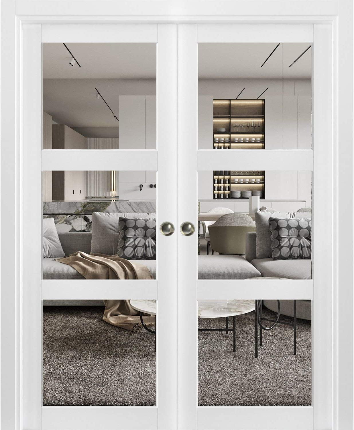 Sliding French Double Pocket Doors 84 x 96 inches Clear Glass 3 Lites| Lucia 2555 Matte White | Kit Trims Rail Hardware | Solid Wood Interior Bedroom Sturdy Doors