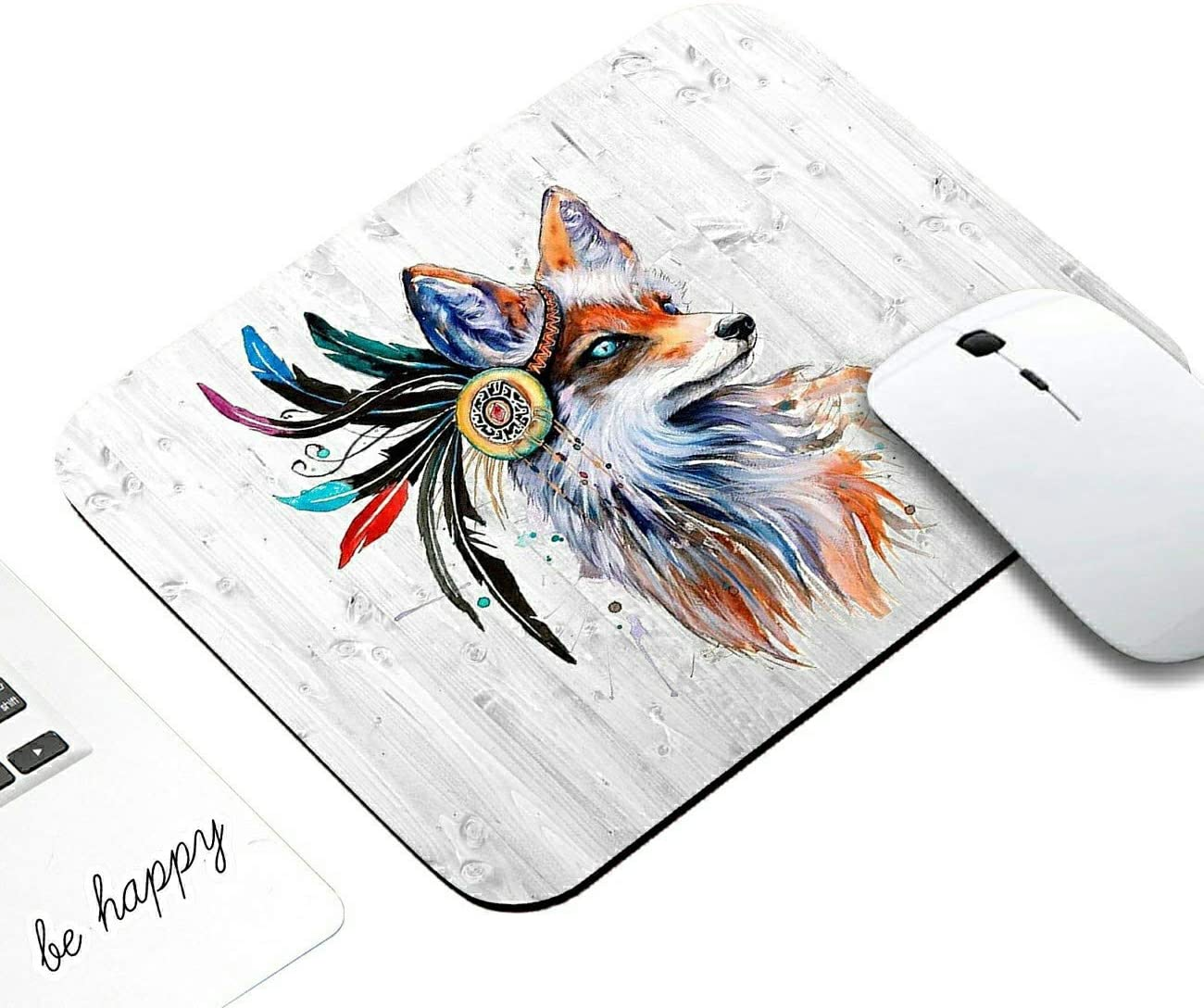 Gaming Mouse Pad,AIRWEE Non-Slip Rubber Rectangle Mouse Pads Mat for Computers Home and Office with Laptop Sticker (Be Happy),Sexy Wolf with Flowers