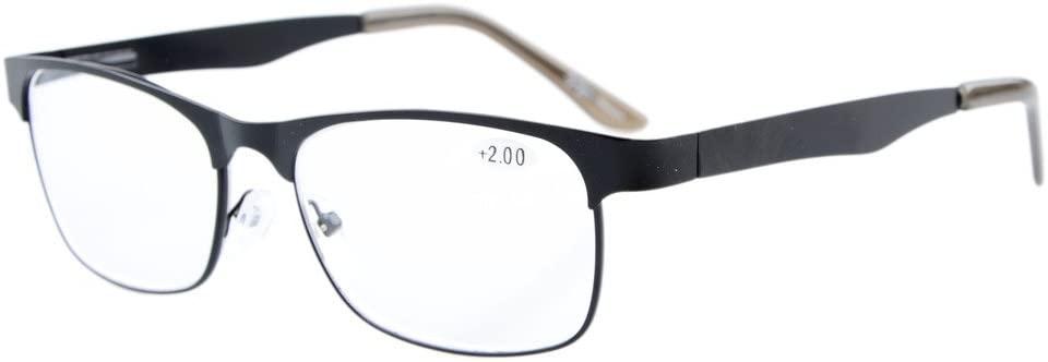 Eyekepper Readers Metal Frame Spring Hinge Reading Glasses Black +1.5