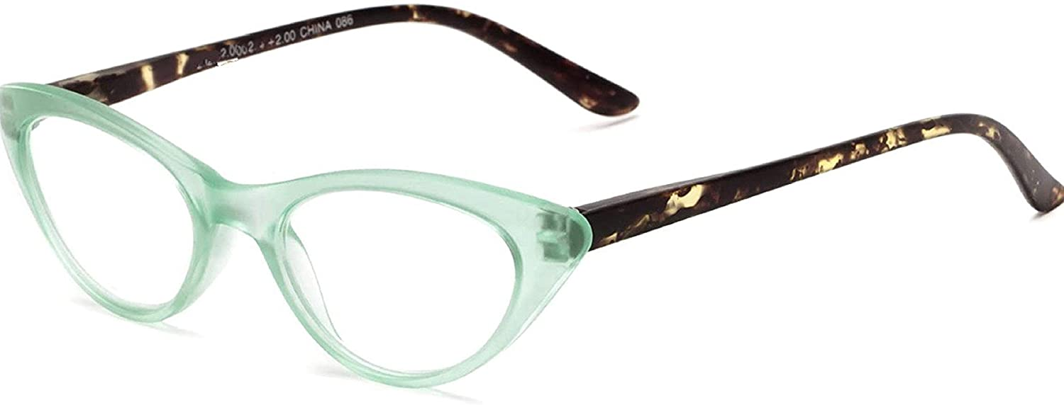 The Cat's Meow Colorful Ladies Cat Eye Reading Glasses, Full Frame Readers, 1950s Vintage Reading Glasses for Women + 2.25 Teal Green (Microfiber Cleaning Carrying Pouch Included)