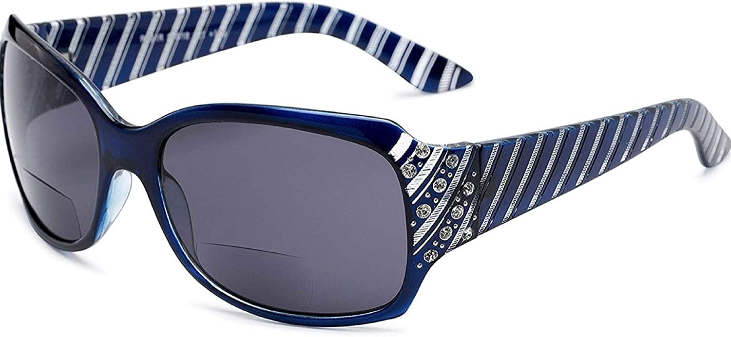 The Jazzy Bifocal Reading Sunglasses, Rhinestone Glasses, Tinted Readers for Women + 2.50 Blue