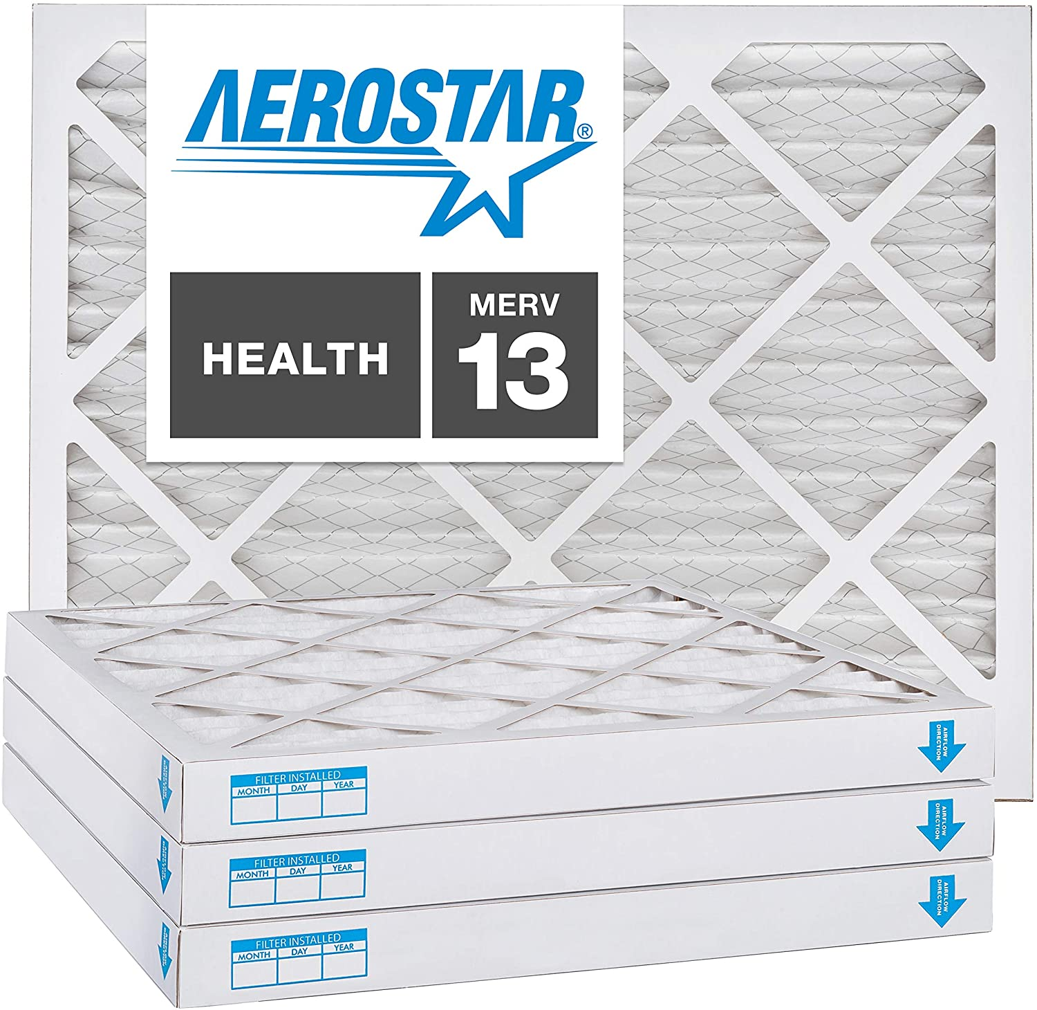 Aerostar 18x18x2 MERV 13, Pleated Air Filter, 18x18x2, Box of 4, Made in The USA