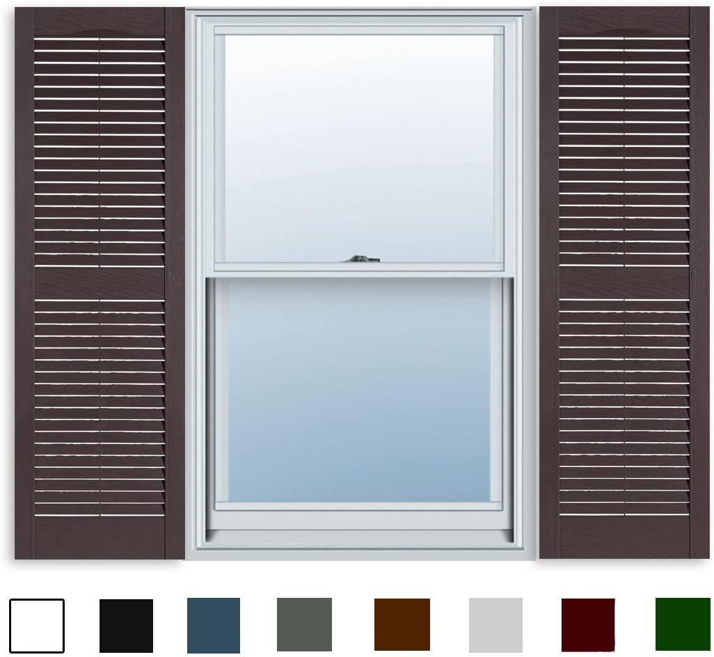 15 Inch x 43 Inch Standard Louver Exterior Vinyl Window Shutters, Sienna Brown (Pair)
