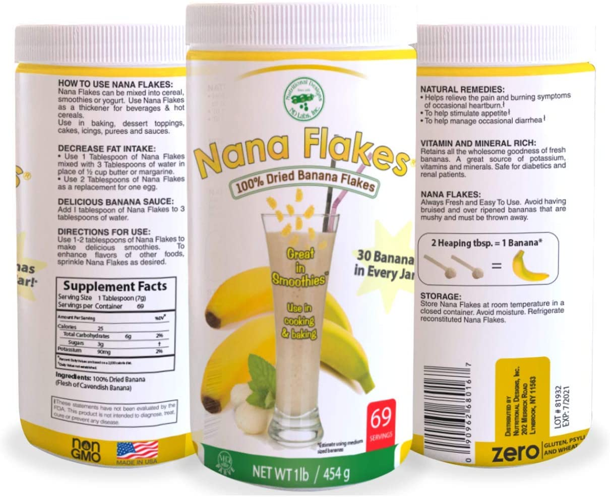 Nana Flakes 100% Pure Banana Flakes Medical Food Powder - Decrease Fat Intake & Natural Remedy for Diarrhea & Heart Burn - Great Source of Protein & Fiber (One Pound Jar)