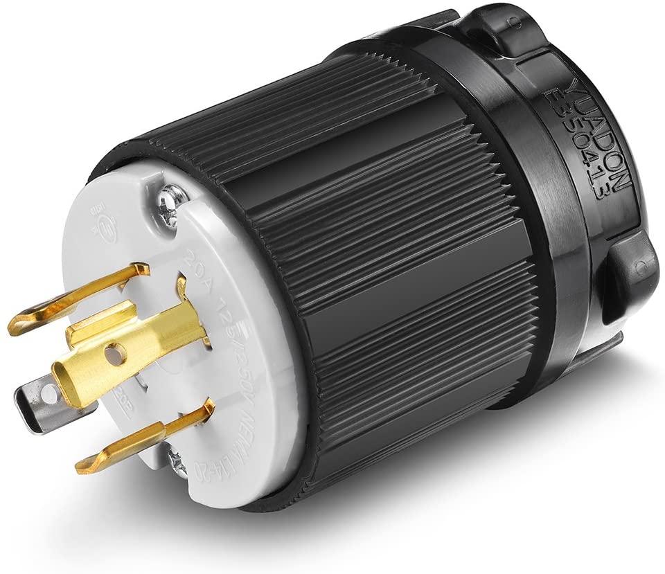 Aweking UL Listed NEMA L14-20P Plug Connector Male,20A 20 Amp,AC 125V/250V 125 Volt/250 Volt,3 Pole-4 Wire,Grouding,Twist Locking,Black Gray