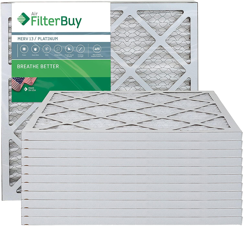 FilterBuy 18x20x1 MERV 13 Pleated AC Furnace Air Filter, (Pack of 12 Filters), 18x20x1 – Platinum
