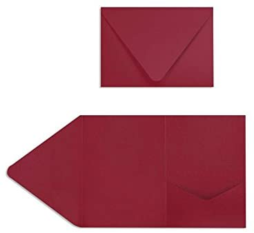 A7 Pocket Invitations (5 x 7) - Garnet (10 Qty) | Perfect for Invitation Suites, Weddings, Announcements, Sending Cards, Elegant Events | EX10-LEBADR24-10