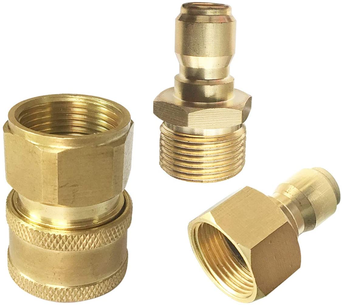 PLG Solid Brass High Pressure Washer Hose Adapter, M22 3/8